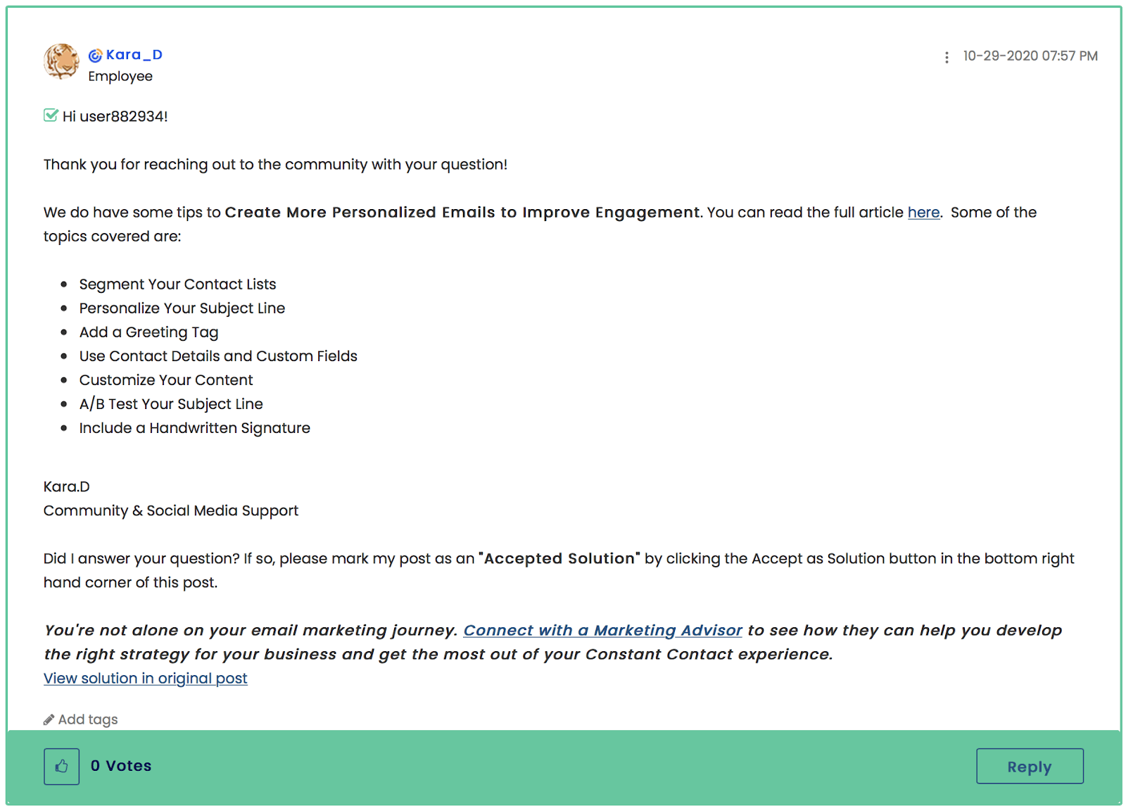 Constant Contact community forum support