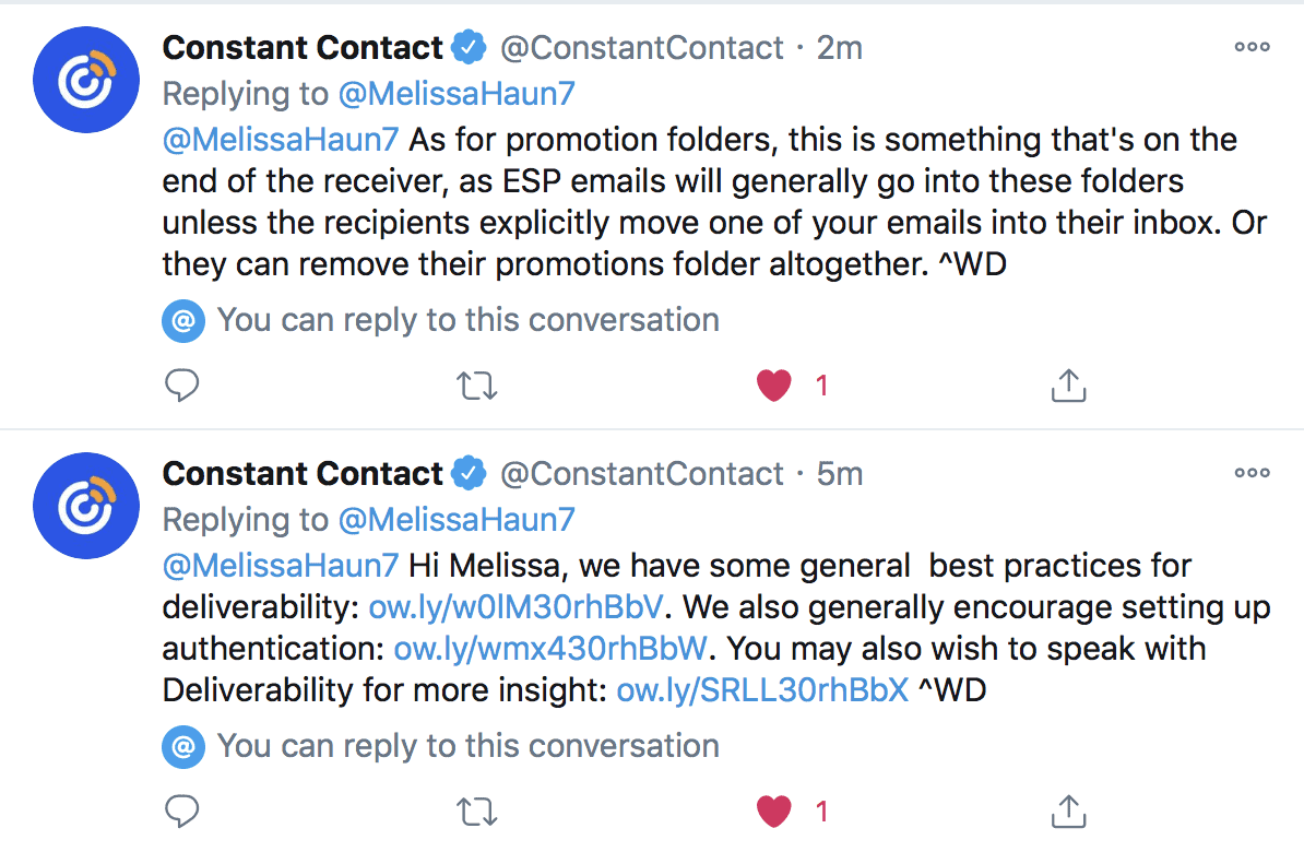 Constant Contact Twitter support