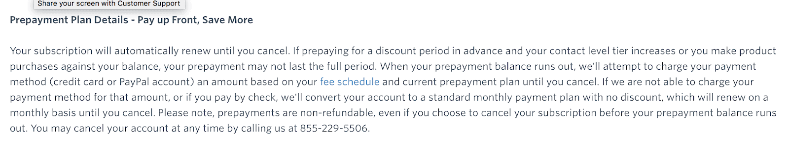 Constant Contact cancellation terms