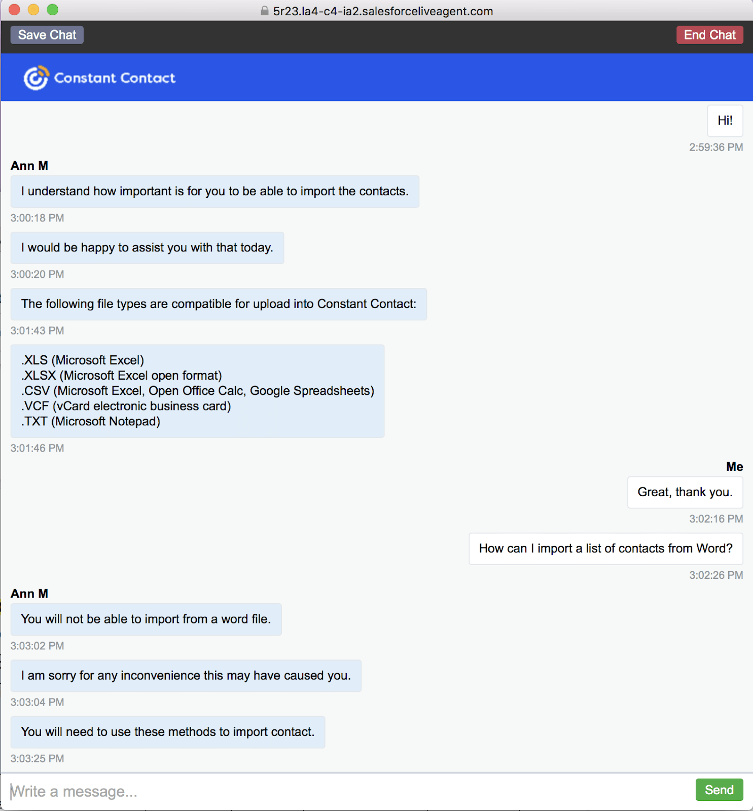 Constant Contact live chat support