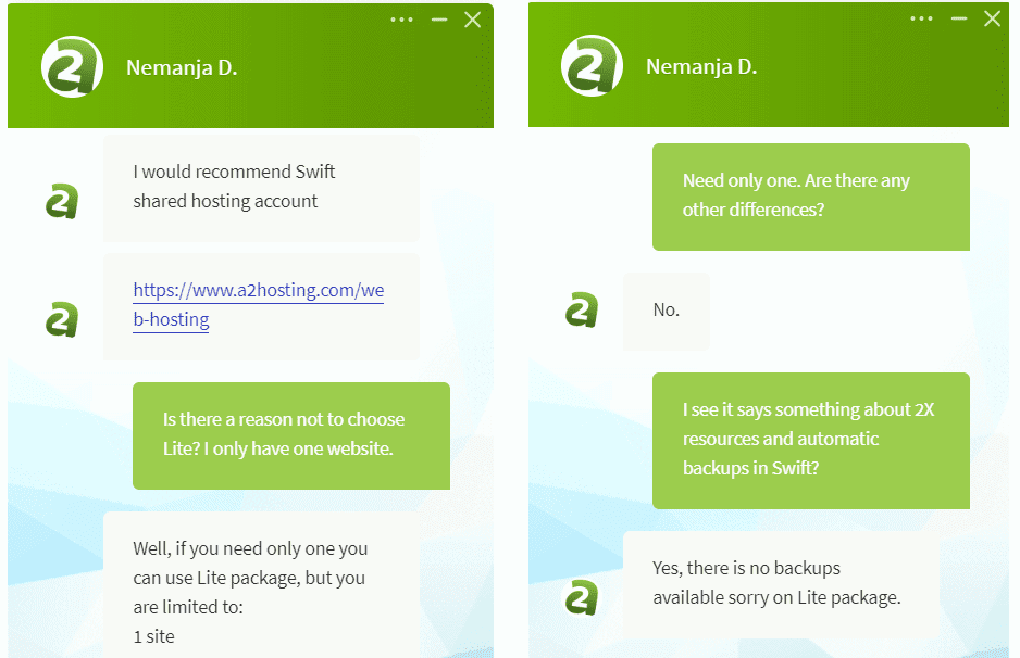 A2 Hosting's live chat support