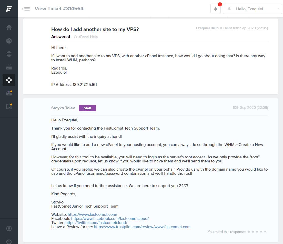 FastComet ticket support