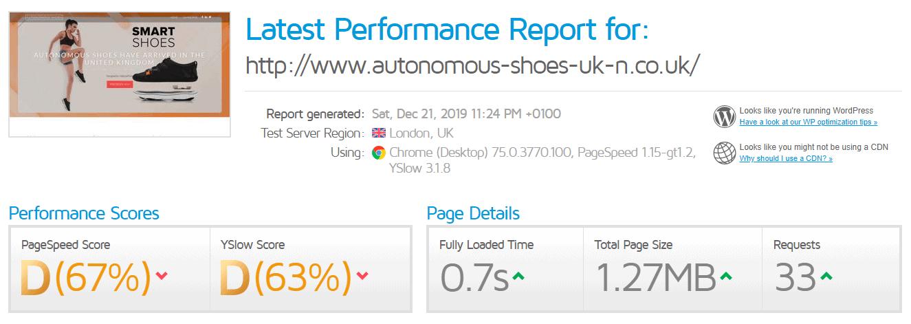 123 Reg's GTmetrix test results