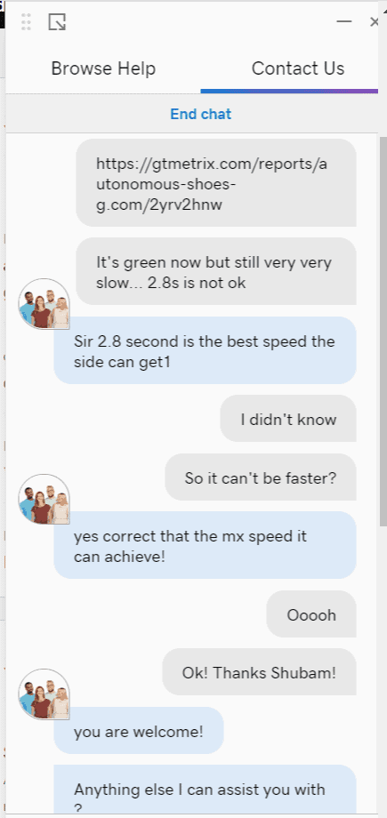 GoDaddy's live chat support