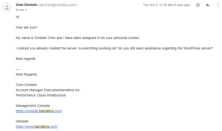 Kamatera email support