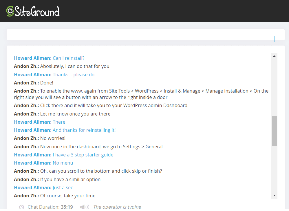 SiteGround support – live chat 2