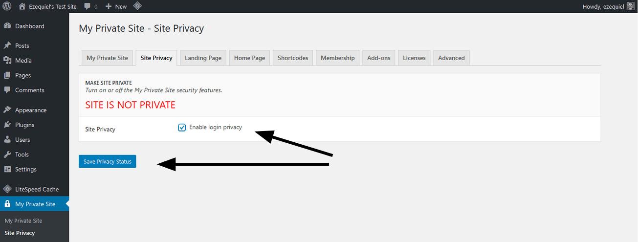 the Site Privacy screen
