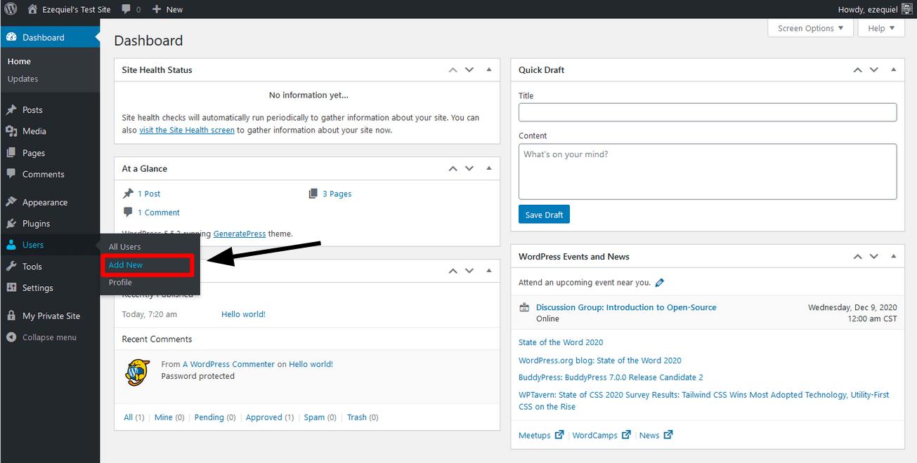 the Users menu