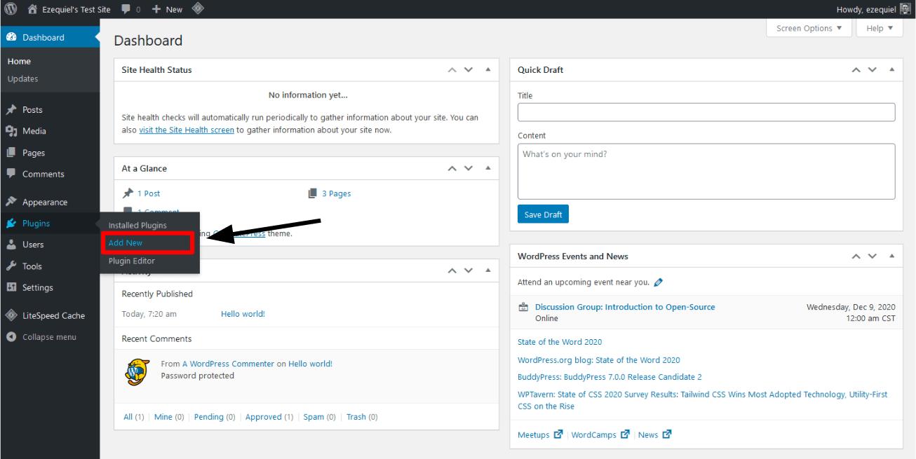 the plugins link in the menu