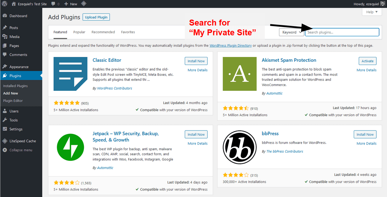the plugins search bar
