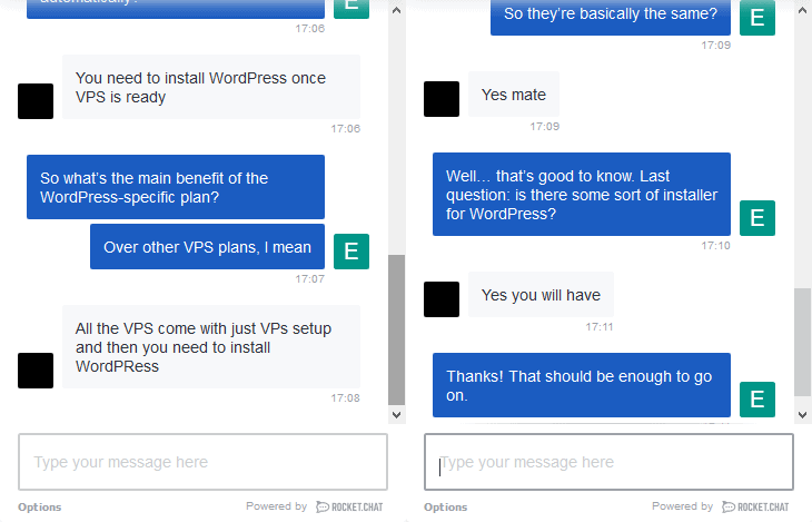 InterServer live chat UI
