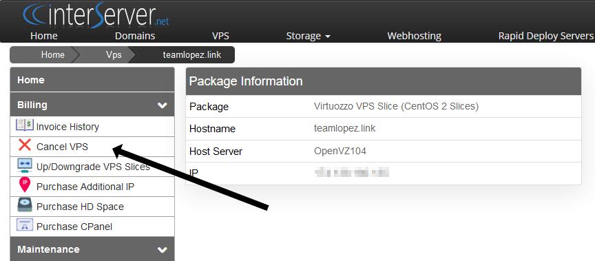 Cancel VPS button