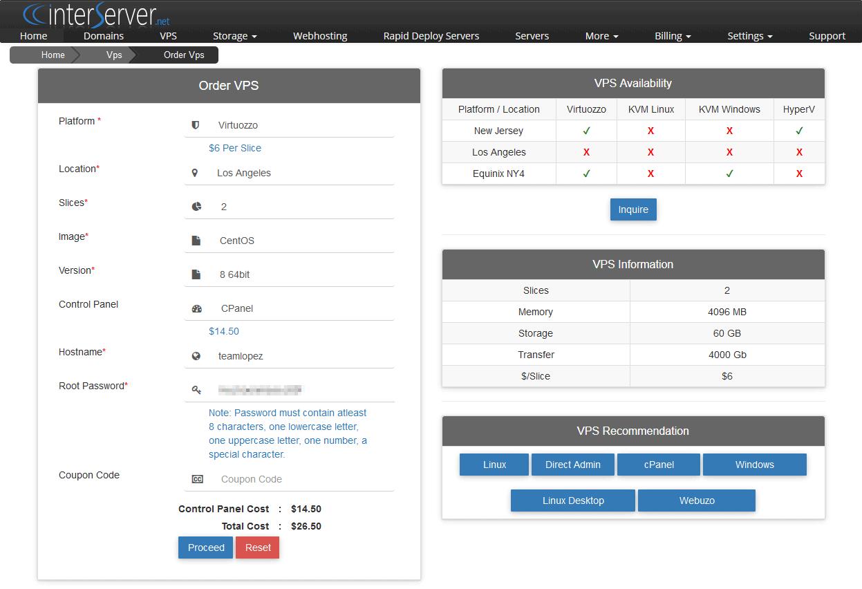 InterServer's order screen