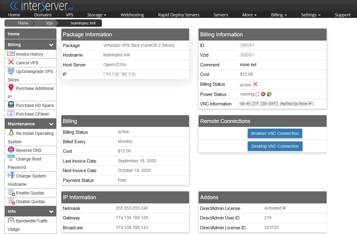 Server management UI