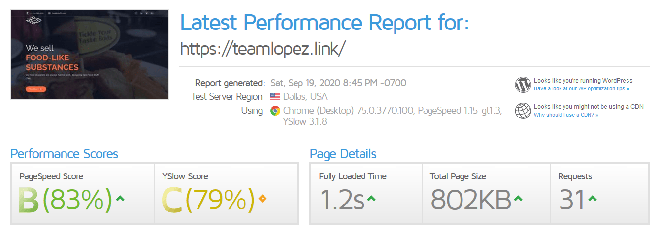 InterServer GTmetrix test results