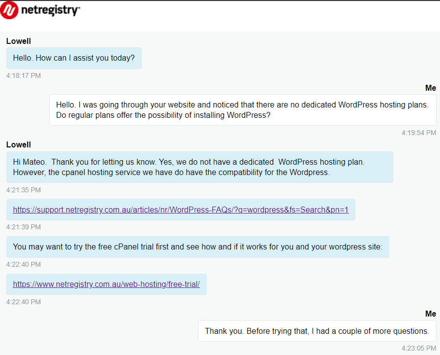[Netregistry] - [Live chat 2]