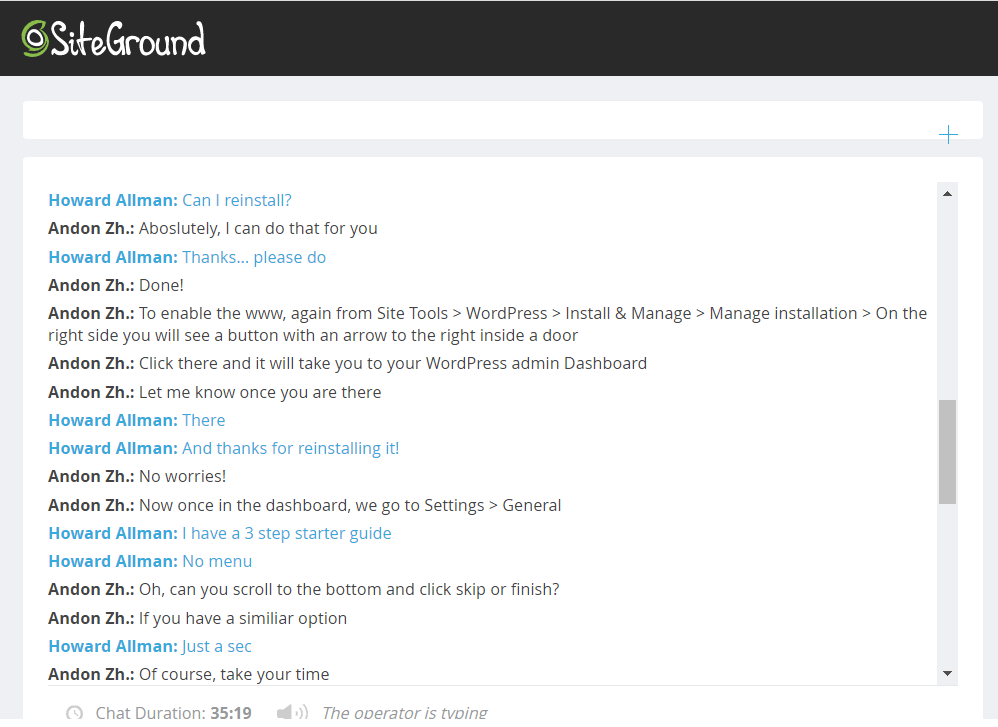 [SiteGround] - [Support chat]