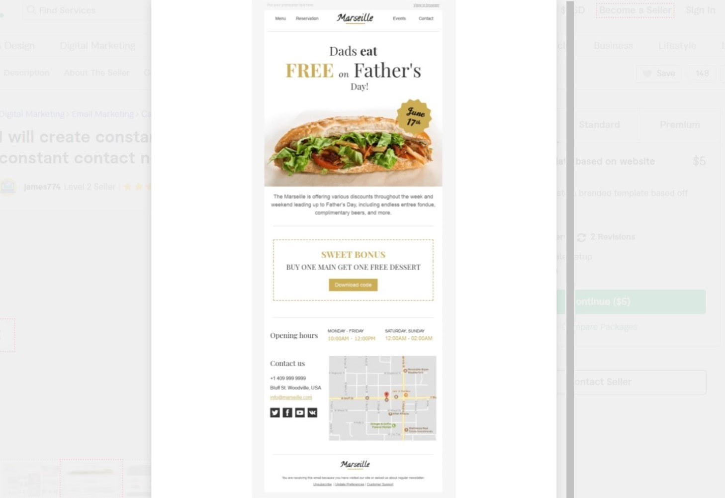 James774 Constant Contact email template example