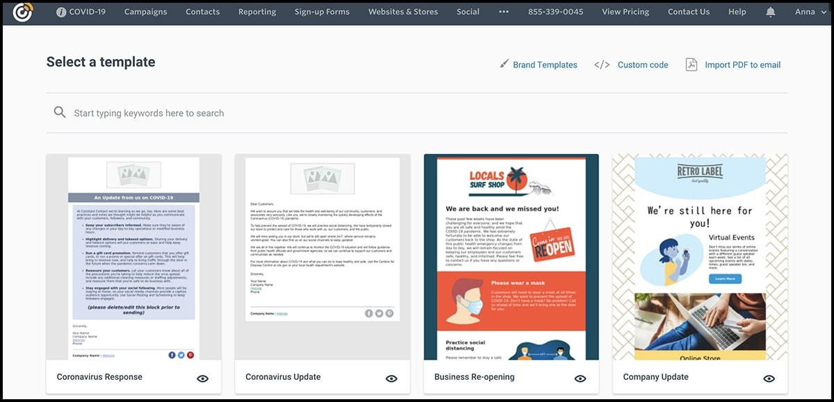 Constant Contact email template gallery