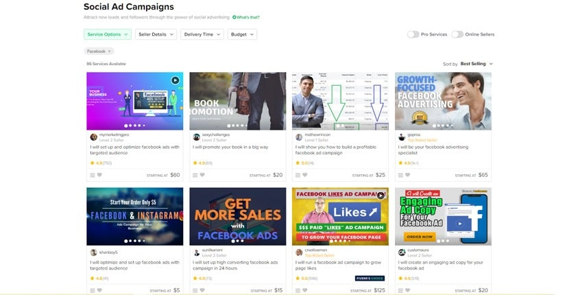 Social ad campaigns on Fiverr