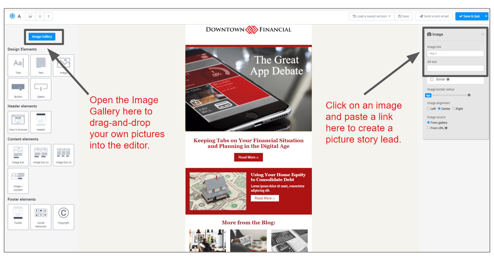 Adding an image to a Sendinblue newsletter template.