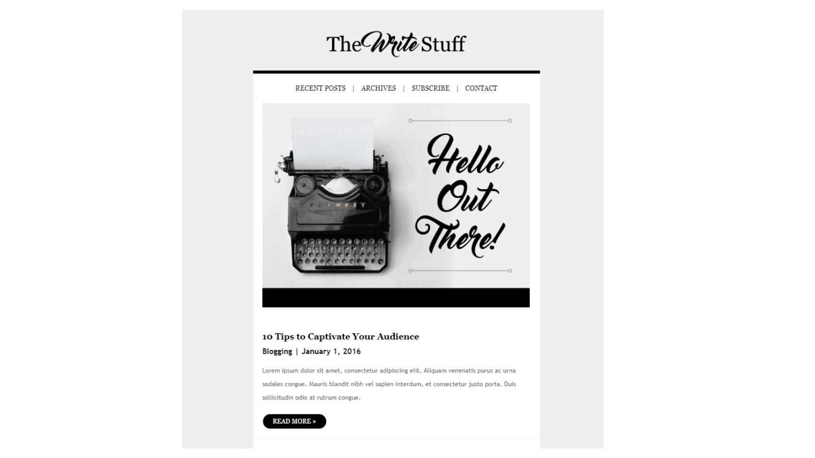 Sendinblue Publishing/Blogging template.