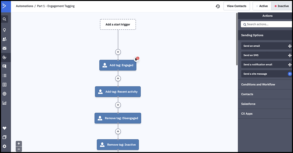 ActiveCampaign automated workflow designer