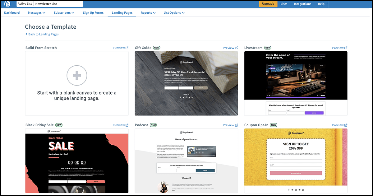 AWeber landing page template gallery