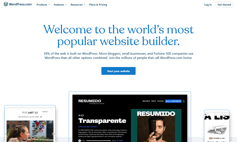 the WordPress.com home page