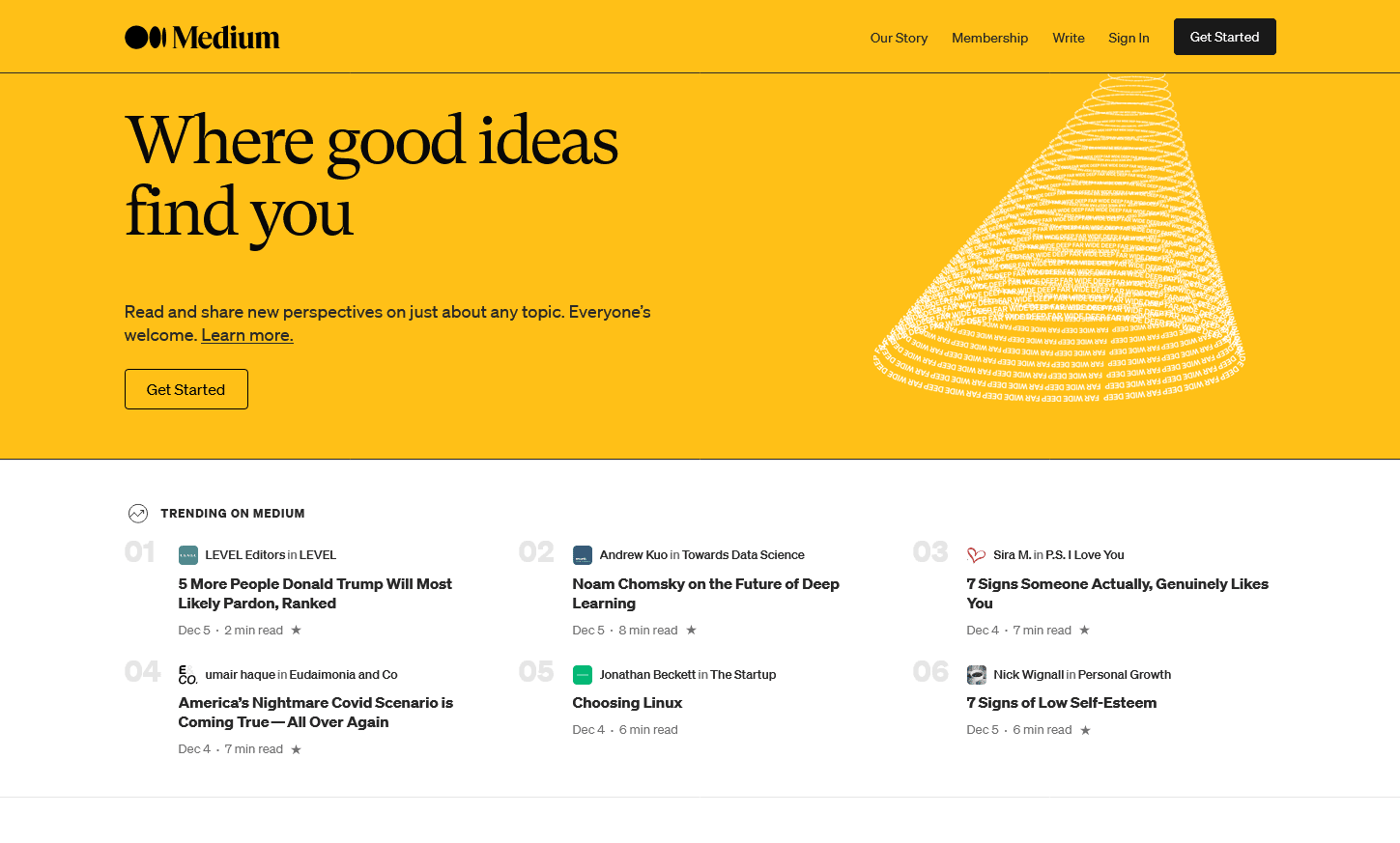 the Medium home page