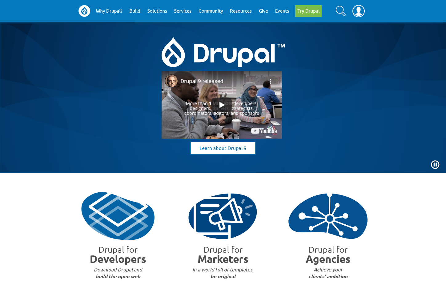 the Drupal home page