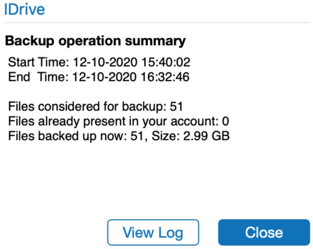 iDrive Backup summary
