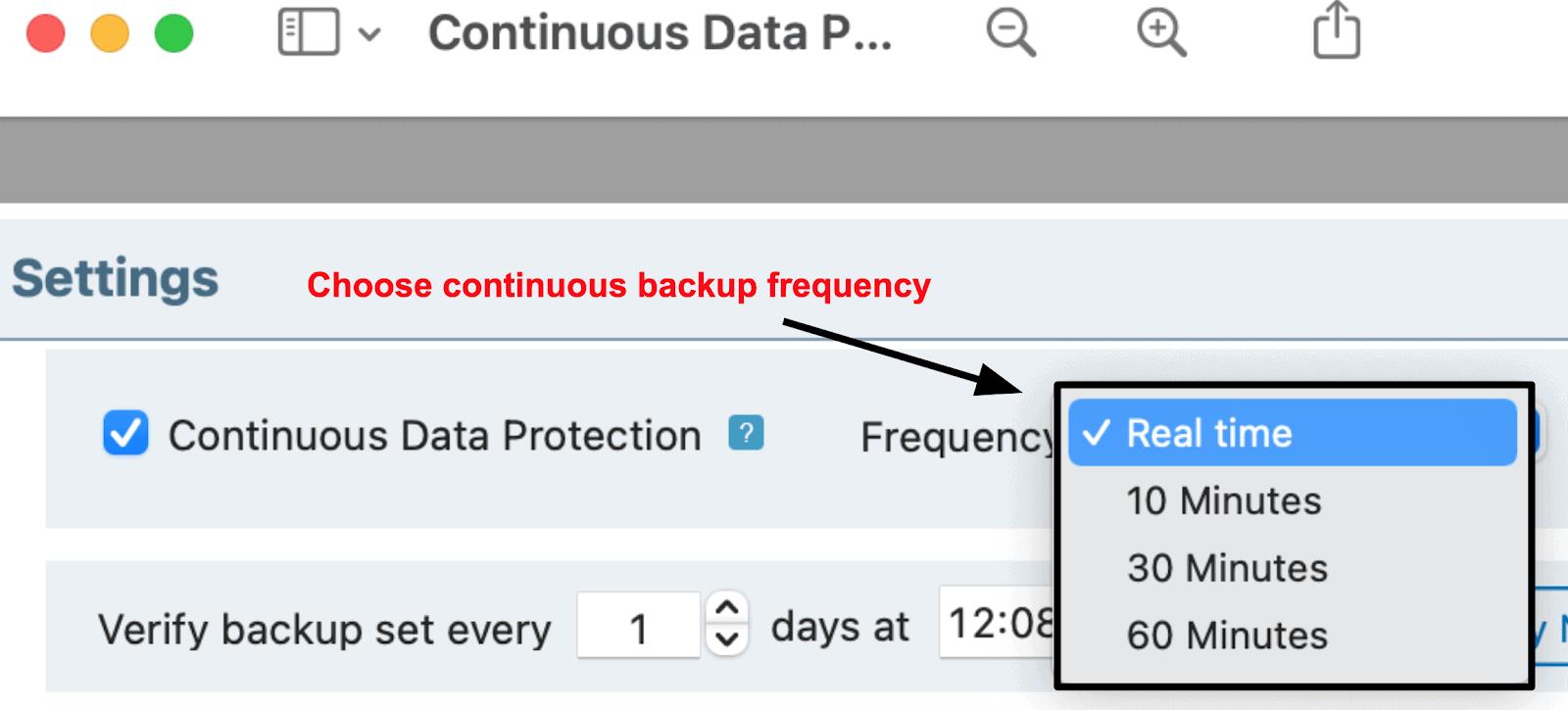IDrive continuous backup settings