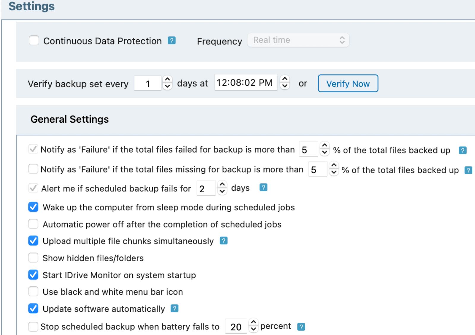 IDrive's Settings options