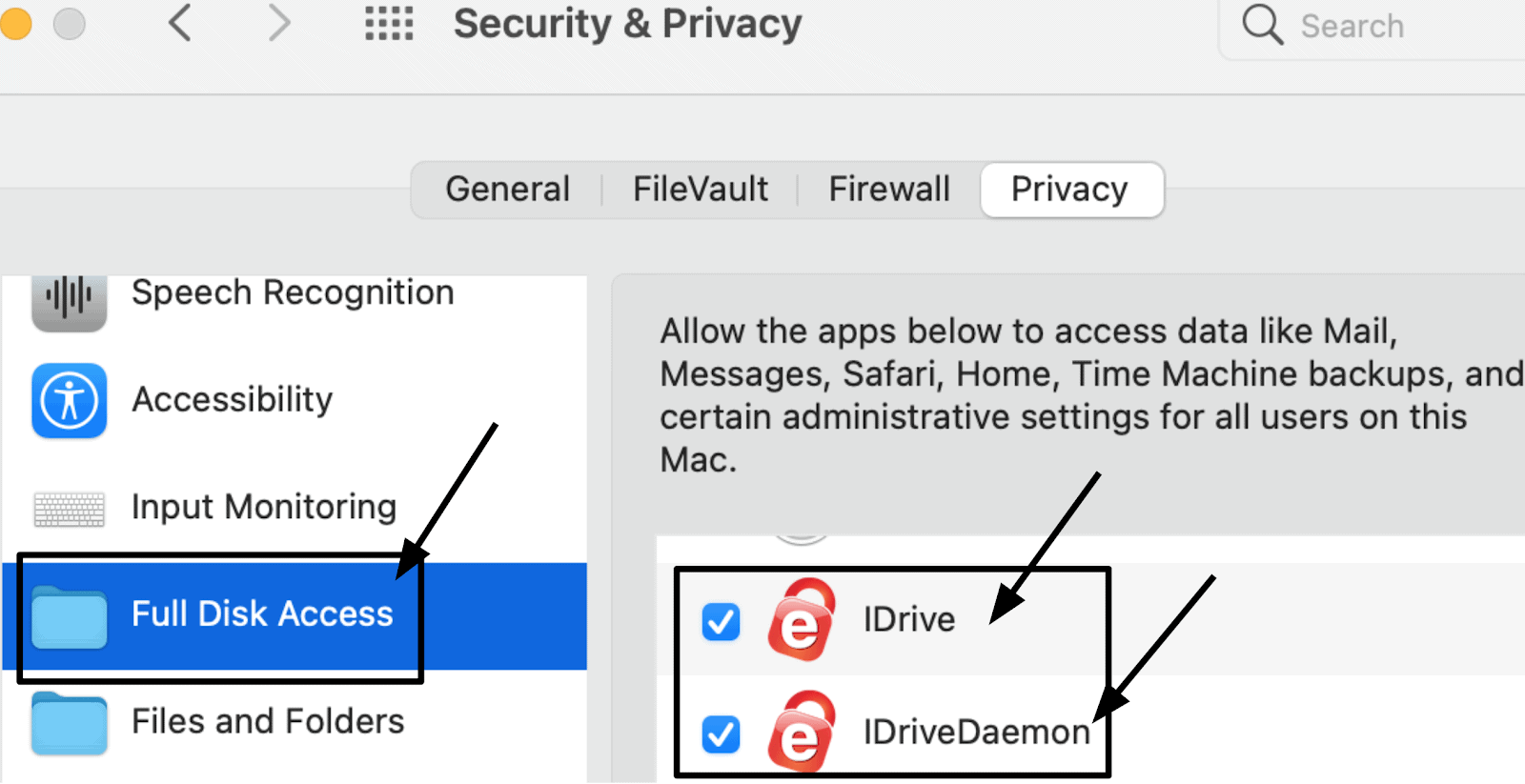 Mac privacy settings for IDrive