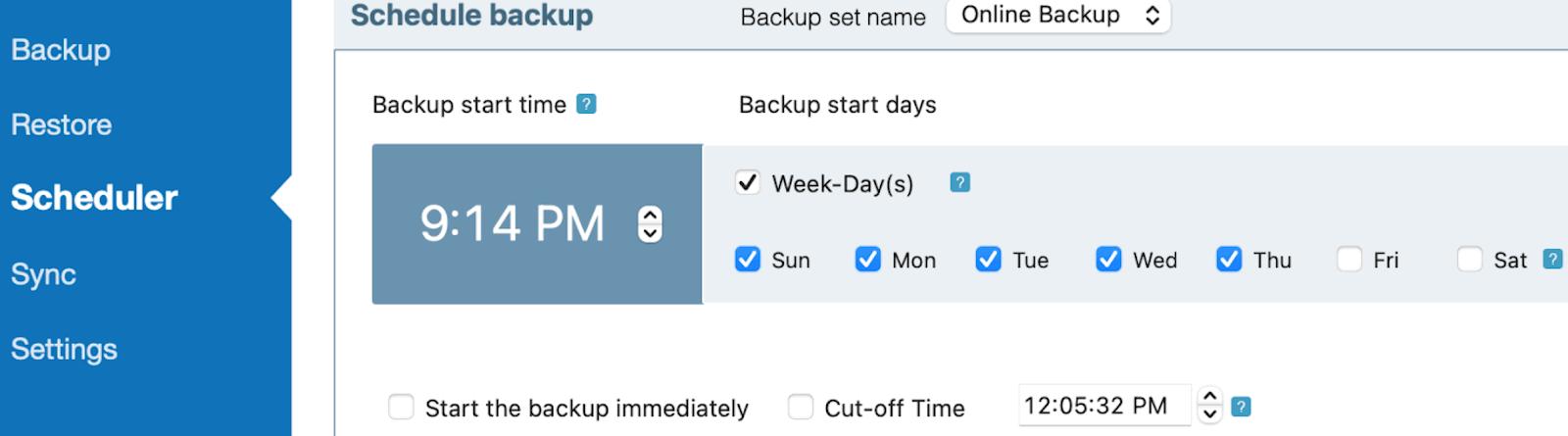 IDrive backup Scheduler