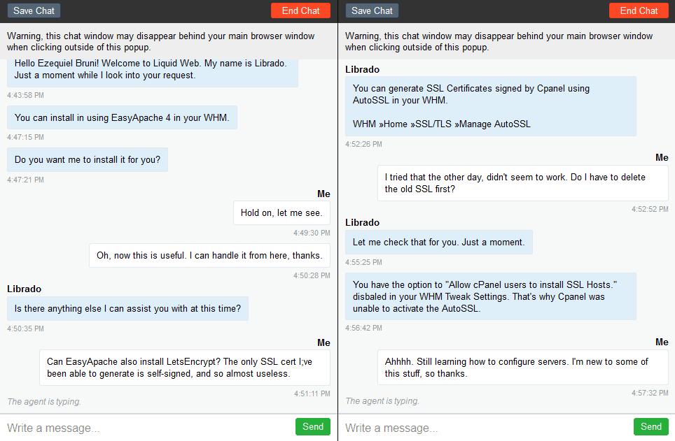 Liquid Web's live chat support