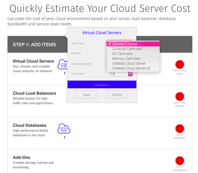 Rackspace's cloud server cost estimation tool