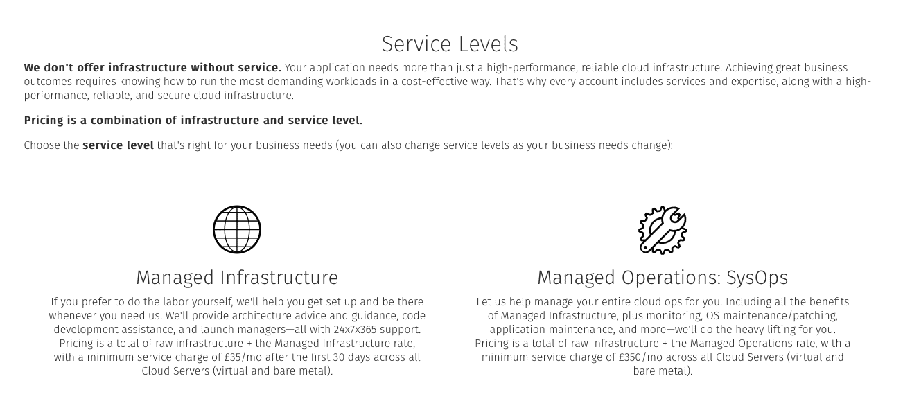 Service levels offered by Rackspace