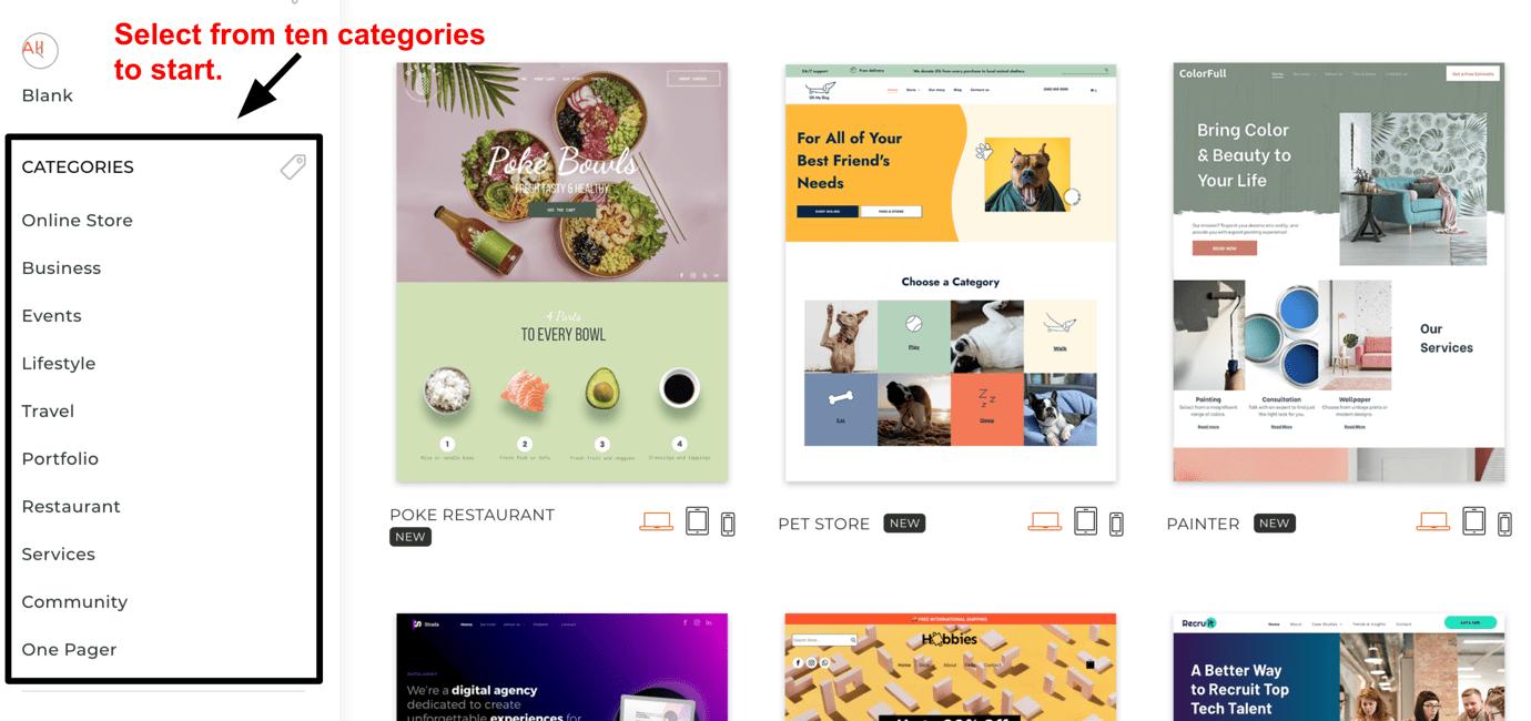 Duda - Ten template categories