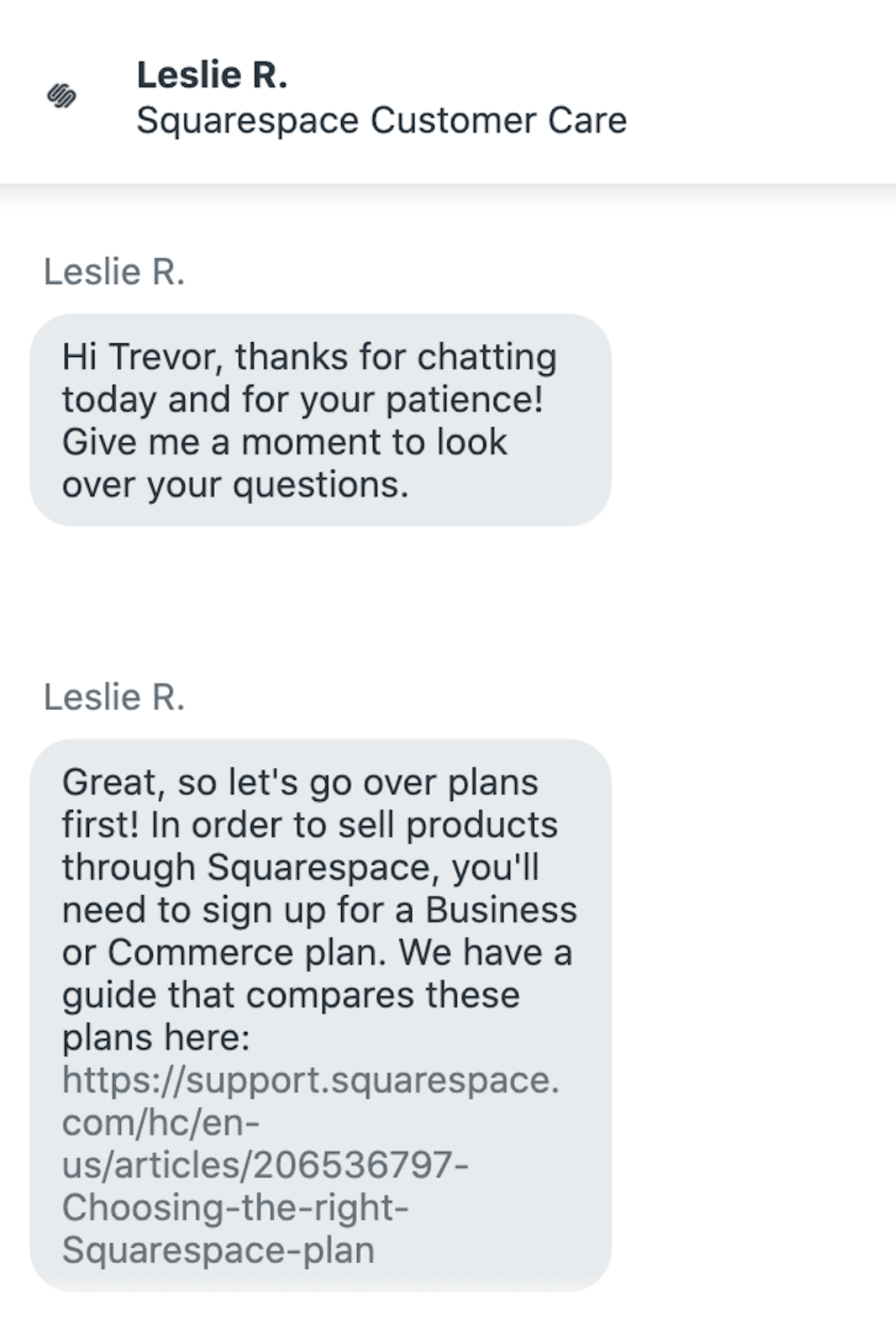 Squarespace - 24/7 Customer support via chat