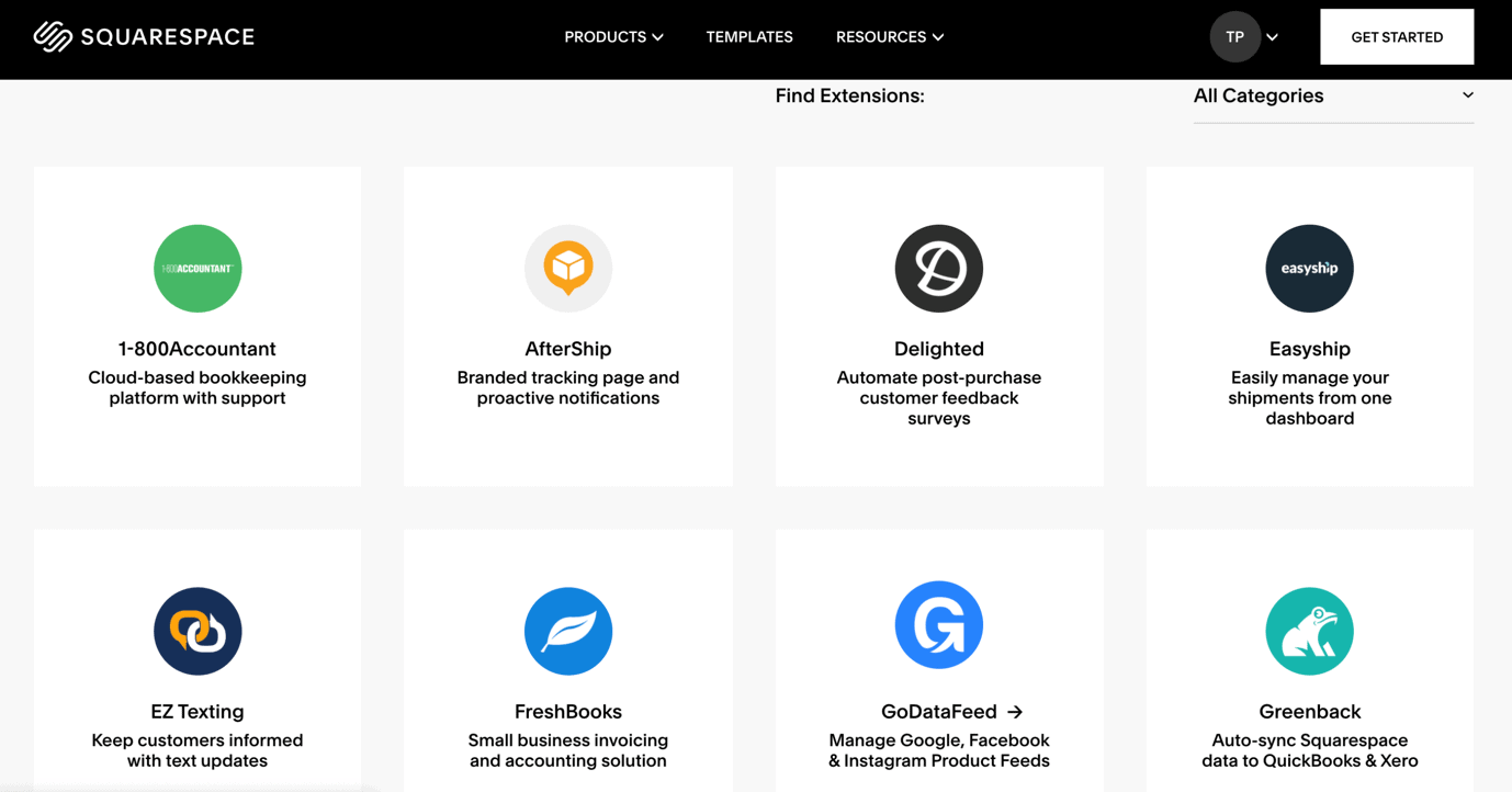 Squarespace has 23 extensions