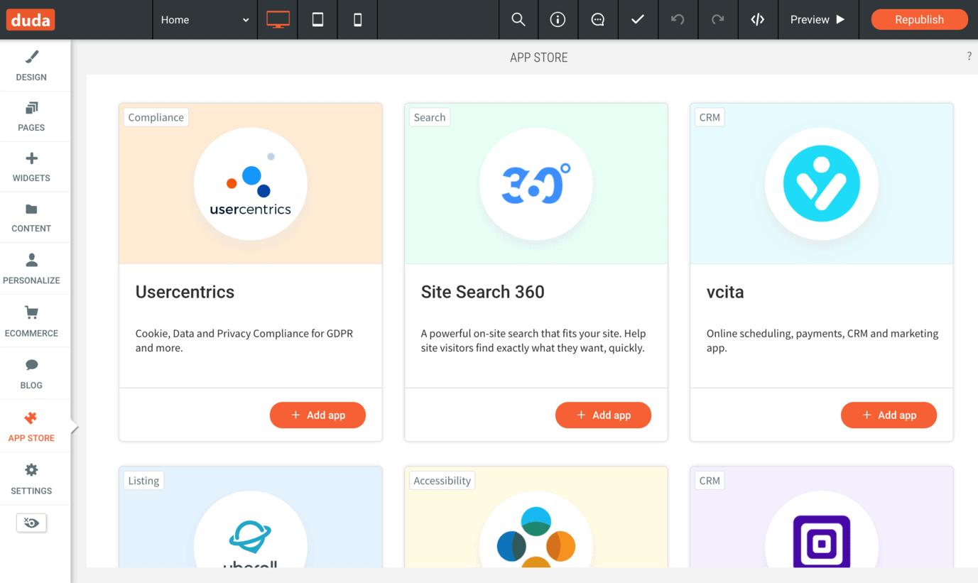 Duda has seven apps