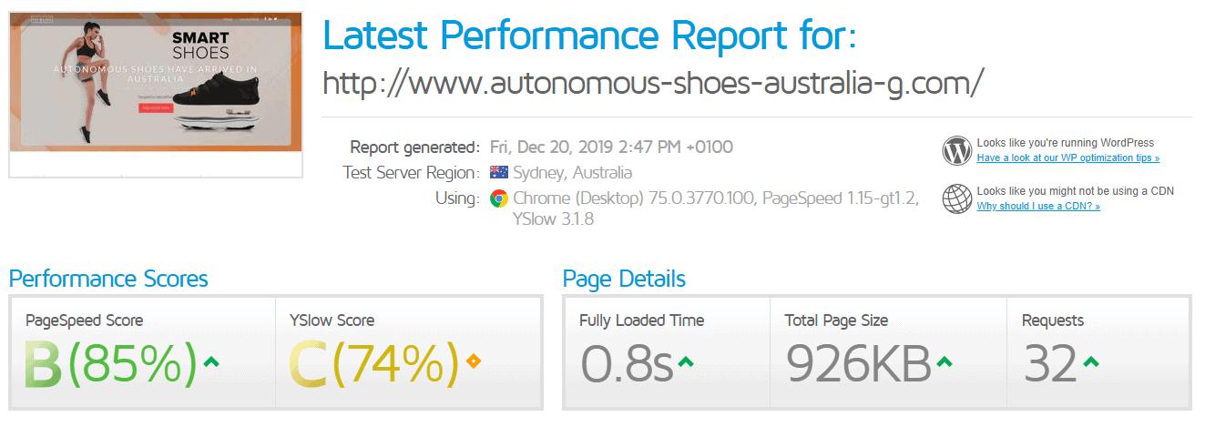 [CrazyDomains] - [GTMatrix performance test]