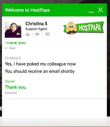 [Hostpapa] - [support chat]