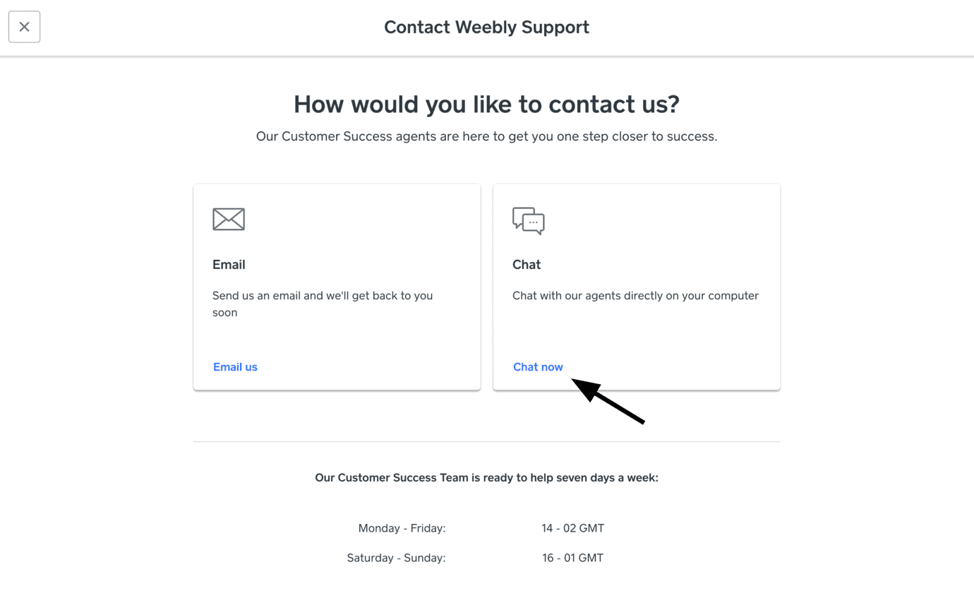 Weebly - access support chat