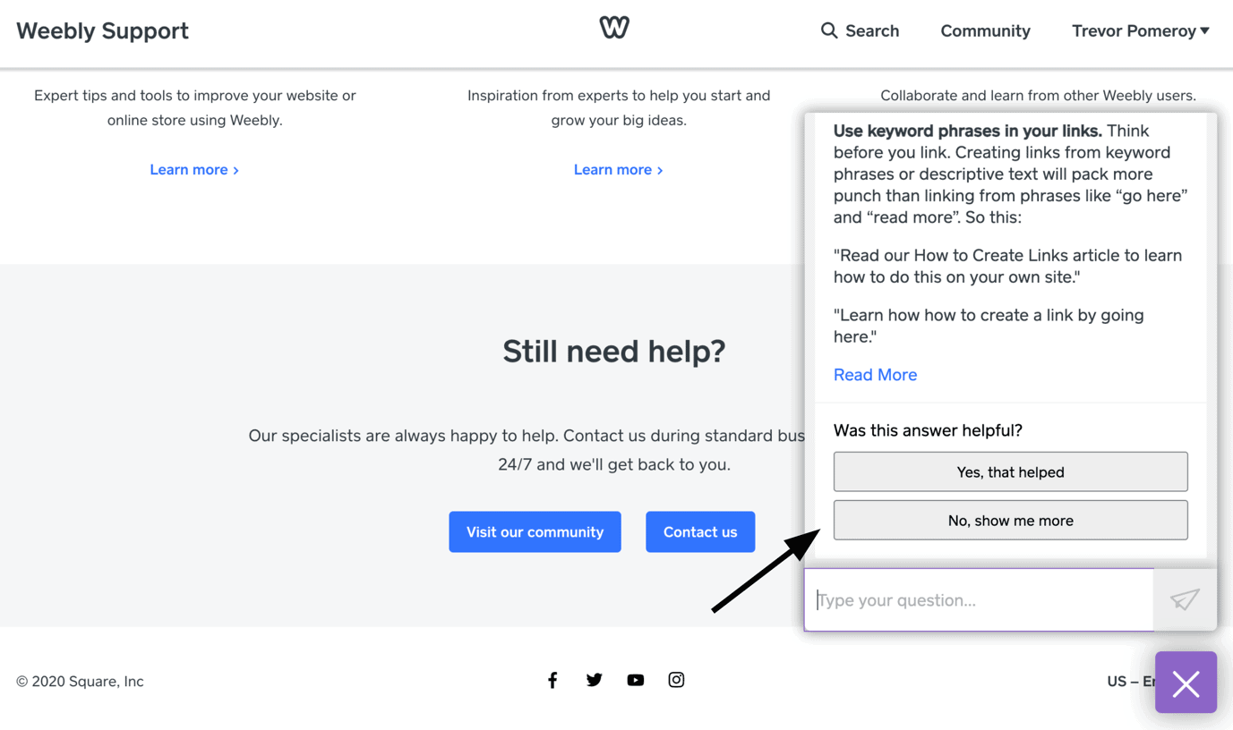 Weebly - reach customer support