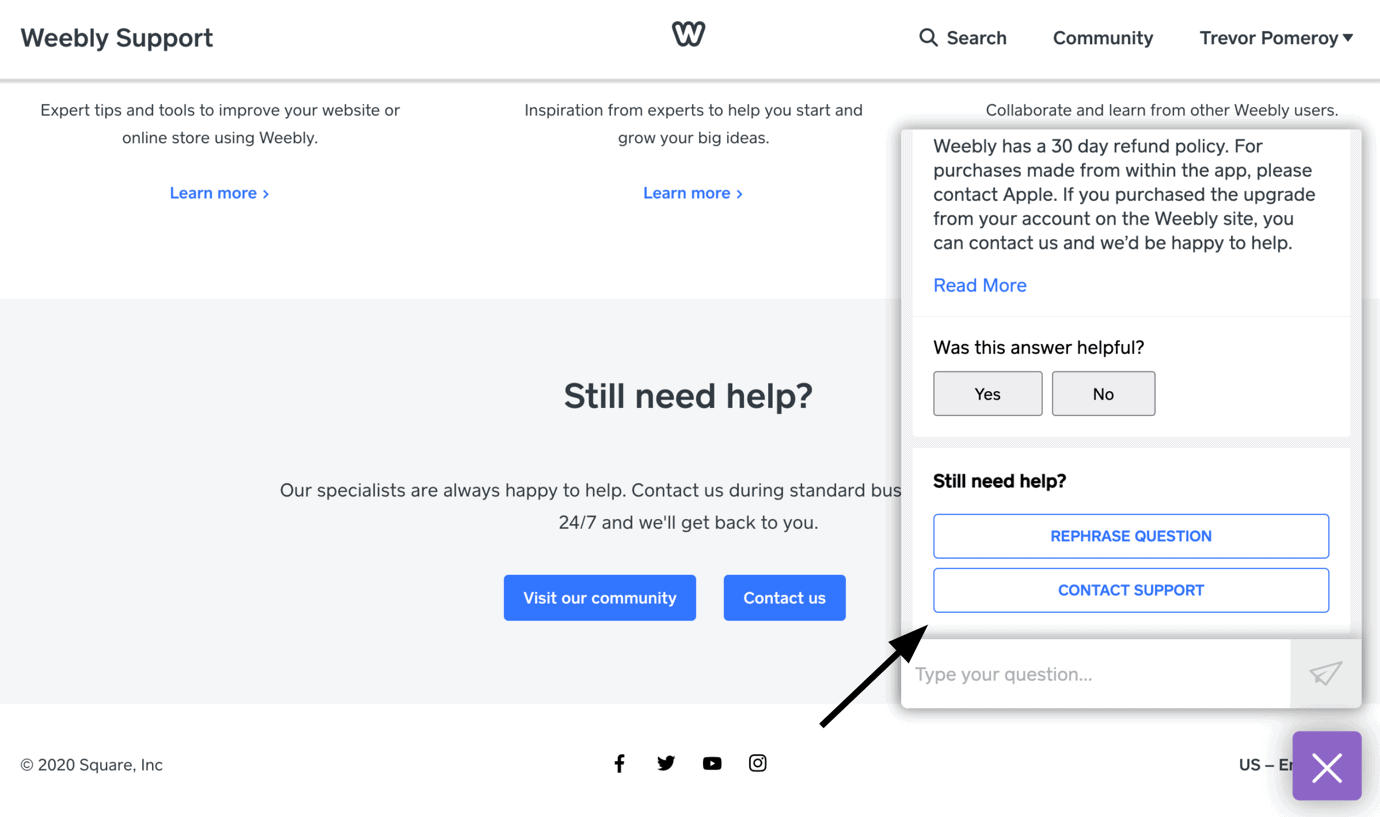 Weebly - contact support