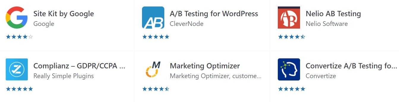 List of A/B testing tools in WordPress plugin library