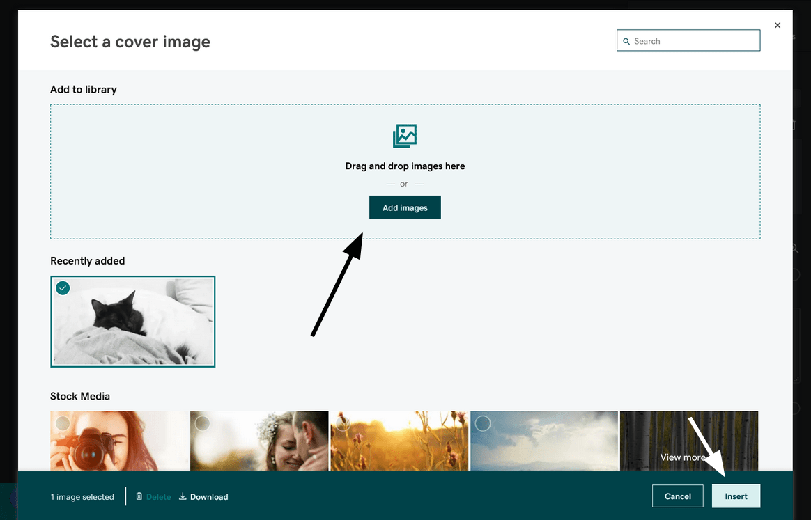 GoDaddy image management screen